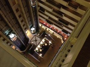 Looking down from the inside of the 15th floor of the Sheraton in downtown Nashville.