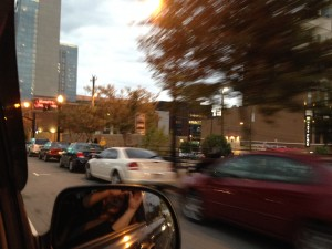 A blurry shot from the truck driving through downtown Nashville.