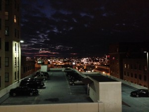 Pretty view of the sunset on a cloudy night in Nashville, TN.