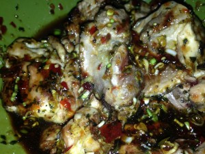 The coating of the chicken thighs. The green onion gave such a fresh zing to the chicken.