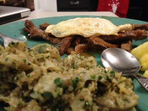 Carne Bistec, Quinoa with Artichokes and Parsley and some fresh pineapple. It made for a fantastic dinner.