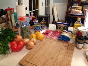 Lots of chopping to do :) Everything both recipes call for ready for prepping.