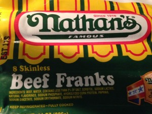 I am sure you can use any type of hot dog, but I can highly recommend Nathan's - they are fantastic!