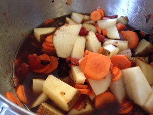 Veggies chopped and ready  - this mixture smells really yummy.