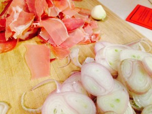 Shallots, garlic and prosciutto, Oh My!